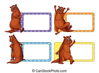 Label design with beavers