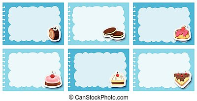 Label design with desserts in blue frame