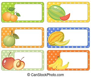Label design with fresh fruits