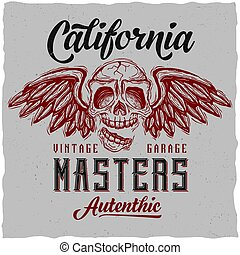 Label design with illustration of skull with wings for t-shirts, posters, greeting cards etc.