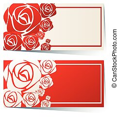 Label design with red roses