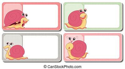 Label design with snails