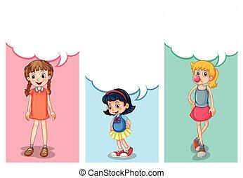 Label design with three girls