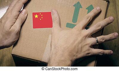 label., drapeau, chinois, paquet, marquer, ou, importation, porcelaine, exportation