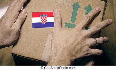 label., drapeau, paquet, marquer, ou, croate, croatie, importation, exportation