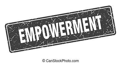 label., empowerment, 型, 印, 黒, stamp.