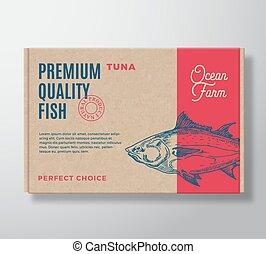 label., fish, nowoczesny, pakowanie, papier, projektować, jakość, tektura, silhouette., pociągnięty, abstrakcyjny, box., premia, layout., typografia, kunszt, tło, tuńczyk, ręka, realistyczny, wektor, albo
