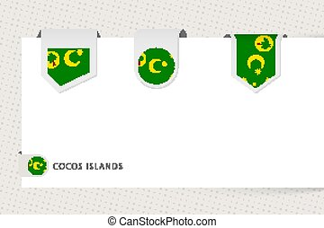 Label flag collection of Cocos Islands in different shape. ...
