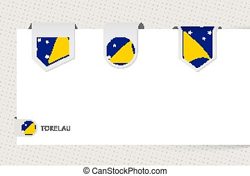 Label flag collection of Tokelau in different shape. Ribbon flag template of Tokelau