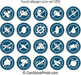 label food allergen icon set vector