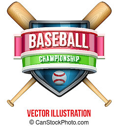 Label for baseball sport competition. Bright premium design. Vector Illustration.