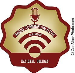 Label for holiday Radio Commercials Day - Round vintage...