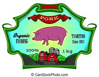Label for packing beef with cow. Vector illustration