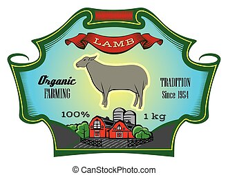 Label for packing Lamb with sheep. Vector illustration