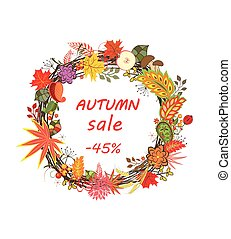Label for seasonal sale with autumnal floral wreath