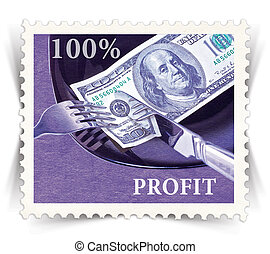 Label for various business advertisements stylized as vintage post stamp - landscape view