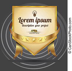 label, gouden lint, borduurwerk