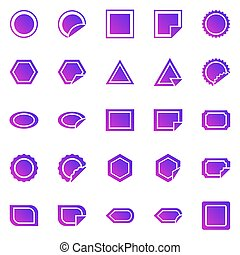 Label gradient icons on white background