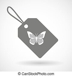 Label icon with a butterfly