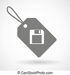 Label icon with a floppy disk