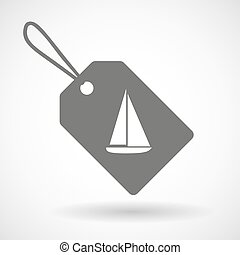 Label icon with a ship