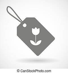 Label icon with a tulip
