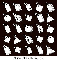 label, iconen, vector, set, detailhandel, thema