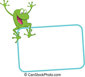 Label - joyful frog on the frame