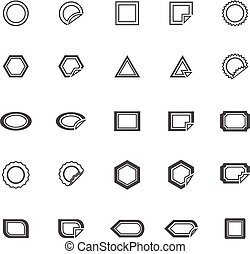 Label line icons on white background