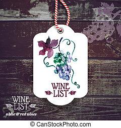 label., mano, vino, acquarello, vendemmia, illustration., ...
