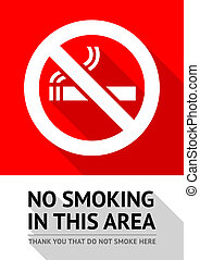 Label No smoking sticker, flat vector illustration