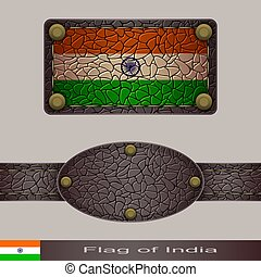 Label of a flag of India