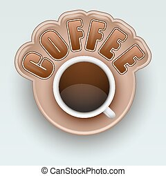 Label of Coffee. Symbol for menu. Vector Illustration.