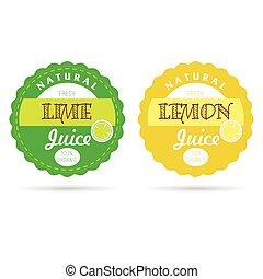 label of fresh fruit lime and lemon natural illustration