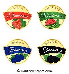 label of fruit set illustration in colorful