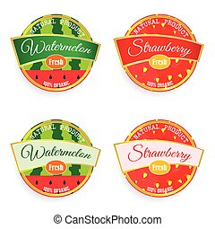 label of fruit watermelon and strawberry illustration in colorful