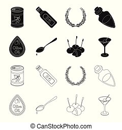 Label of olive oil, spoon with a drop, olives on sticks, a glass of alcohol. Olives set collection icons in black,outline style vector symbol stock illustration web.