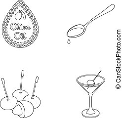 Label of olive oil, spoon with a drop, olives on sticks, a glass of alcohol. Olives set collection icons in outline style vector symbol stock illustration web.