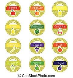 label of set fruit health design illustration