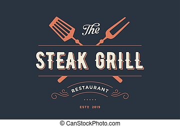 Label of Steak Grill restaurant with grill fork, text Steak...