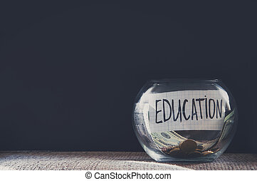 Label on a glass jar with the inscription - education