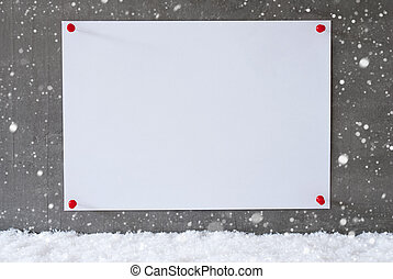 Label On Cement Wall, Snowflakes, Copy Space