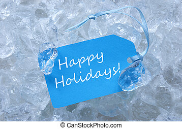 Label On Ice With Happy Holidays