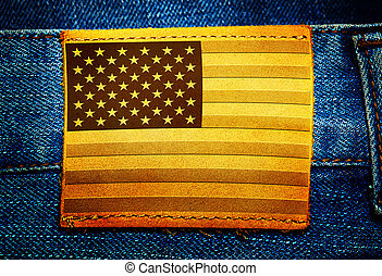Label on jeans with USA flag