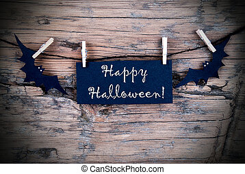 Label on Line with Happy Halloween