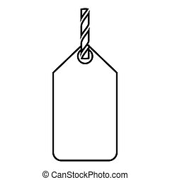 Label on the rope icon black color illustration flat style simple image