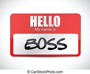 label, ontwerp, naam, illustratie, baas