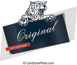 Label or banner template with furious scary tiger with an open mouth.