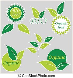 Label or logo with organic product. Eco symbol or signs.