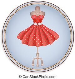 Label or sticker with image of fashion red dress in polka dots in retro style